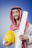 Arab engineer with drawings Stock Photos
