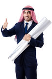 Arab engineer. With drawings on white Stock Photos