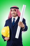 Arab engineer with drawings Stock Photography