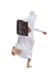 Arab escapes. Arab holds a briefcase of business and runs away from the camera (without a face). Isolation on a white background in the studio Royalty Free Stock Photo