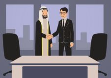 Arab and European businessmen shaking hands. Business meeting in office with Arab partners. Vector illustration. royalty free illustration