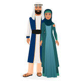 Arab family. Arabian man and woman couple in traditional national clothes. Royalty Free Stock Image