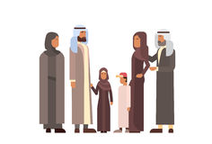 Arab Family, Arabic Parents With Children. Flat Vector Illustration Stock Image