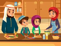 Arab family cooking together at kitchen cartoon flat illustration of Muslim people preparing meals in Arabian clothes vector illustration