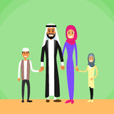 Arab Family Four People, Arabic Parents Two Royalty Free Stock Photo