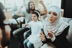 Arab Family at Reception in Psychotherapist Office stock photography