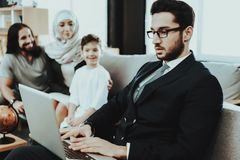 Arab Family at Reception in Psychotherapist Office stock photo