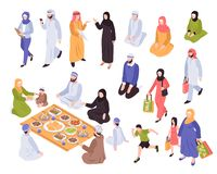 Arab Family Set. With traditional food and shopping symbols isometric isolated vector llustration stock illustration