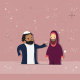 Arab Female And Male Couple Cartoon Woman Man, Muslim People Portrait Stock Photography
