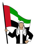 Arab with the flag of United Arab Emirates Royalty Free Stock Photos