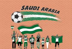Arab football fans cheering with Saudi Arabia flag colors in fro. Nt of soccer ball graffiti. All the objects are in different layers and the text types do not vector illustration