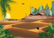 The Arab fortress and the modern city in the desert Sands. Landscape. Stock Images