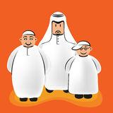 Arab Funny Characters - Father And Sons. Vector illustration of an arab father and his two sons wearing the traditional middle eastern clothes, the dishdasha Royalty Free Stock Photo