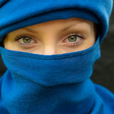 Arab girl. With blue scarf Stock Images