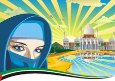Arab girl. Arabic Palace on the coast. Royalty Free Stock Photography
