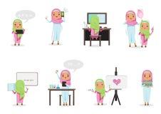 Arab Girl. Arabic Girl study Isolated on white background. Vector cartoon illustration Stock Photography