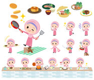 Arab girl cooking. Set of various poses of Arab girl cooking stock illustration