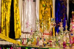 Arab glass perfume bottles at the shop Royalty Free Stock Photography