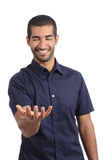 Arab happy man holding something blank in his hand Royalty Free Stock Photography