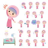 Arab Hijab girl_sickness. A set of Islamic girl with injury and illness.There are actions that express dependence and death.It`s vector art so it`s easy to edit vector illustration