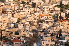 Arab homes on the hillside of Mount of Olives in Jerusalem Royalty Free Stock Images