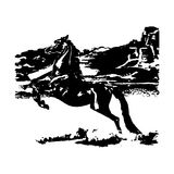 The Arab horse in the desert (graphics) Royalty Free Stock Photography