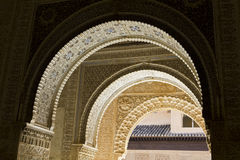 Arab horseshoe arches. Alhambra Stock Photo