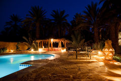 Arab hotel pool evening Royalty Free Stock Image