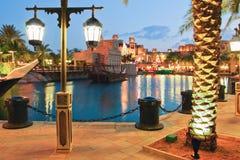 The Arab hotel under the light of lanterns on Christmas Eve, Dub Royalty Free Stock Image