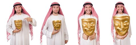 The arab in hypocrisy concept on white. Arab in hypocrisy concept on white Royalty Free Stock Photos