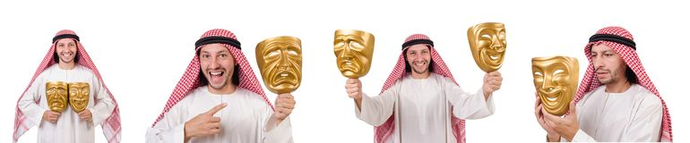 The arab in hypocrisy concept on white. Arab in hypocrisy concept on white Stock Photos