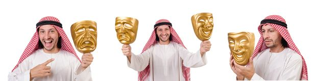 The arab in hypocrisy concept on white. Arab in hypocrisy concept on white Stock Photography