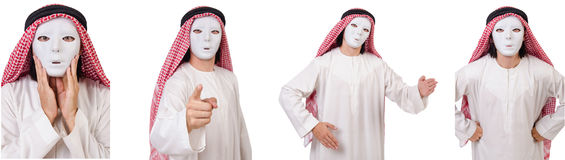 The arab in hypocrisy concept on white. Arab in hypocrisy concept on white Royalty Free Stock Image