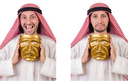 The arab in hypocrisy concept on white Stock Photography