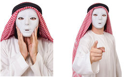The arab in hypocrisy concept on white Stock Photo