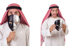The arab in hypocrisy concept on white Stock Photos