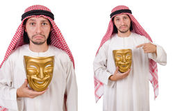The arab in hypocrisy concept on white. Arab in hypocrisy concept on white Royalty Free Stock Photography