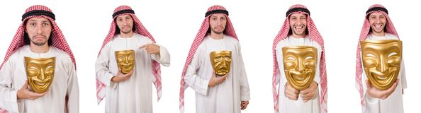 The arab in hypocrisy concept on white. Arab in hypocrisy concept on white Stock Photo