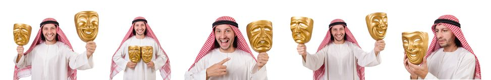 The arab in hypocrisy concept on white. Arab in hypocrisy concept on white Stock Images