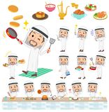 Arab Kandura jest ubranym men_cooking Fotografia Royalty Free