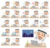 Arab Kandura jest ubranym men_desk pracę Obraz Royalty Free