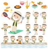 Arab Kandura jest ubranym stary men_cooking Obraz Royalty Free