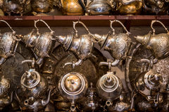 Arab kettles for tea on Oriental bazaar Stock Photography