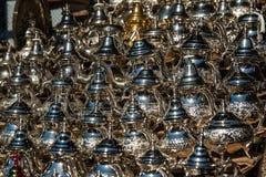 Arab kettles for tea on Oriental bazaar Royalty Free Stock Photos