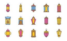 Arab lamp or Ramadan lantern, filled outline icon vector vector illustration