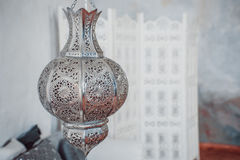 Arab lamps. Moroccan silver lantern Royalty Free Stock Image