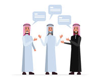 Arab leader people talking and discussion. Flat character design. vector illustration Stock Images