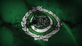 Arab League grunge dirty flag waving on wind. Arab League background fullscreen grease flag blowing on wind. Realistic filth fabric texture on windy day Stock Image