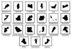Arab League Countries Map Icons. Silhouette maps of the countries of the Arab League Stock Photos