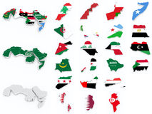 Arab league flags compilation. On white Royalty Free Stock Image